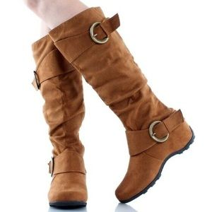 🆕 Gold Tan Dhaka Tall Slouch Buckle Boots NWT